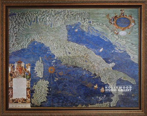 45X56 DANTI ITALIA ANTIQUE MAP GOLD