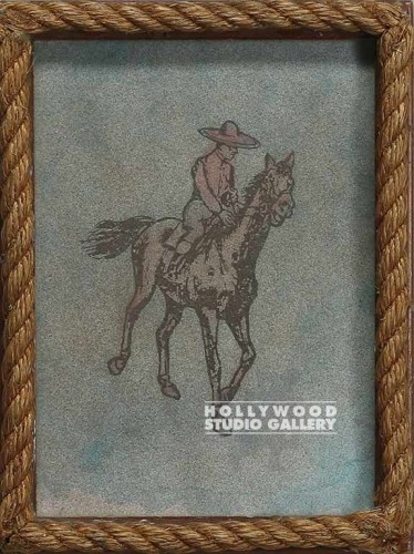 11X9 COW BOY ON HORSE BROWN ROP FR
