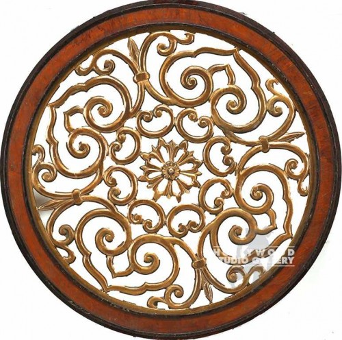 "34"" Circular Asian Carved Panel"