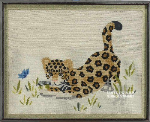 17X21 LEOPARD NEEDLE POINT FOX GALL