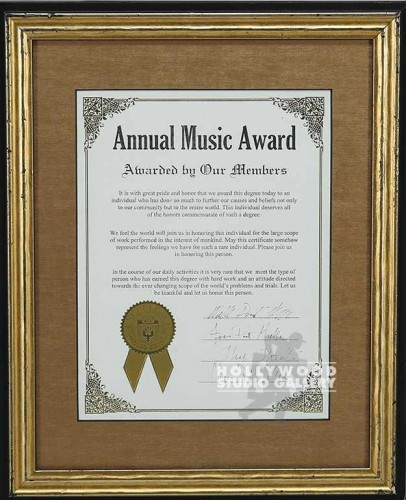 13X16  ANNUAL MUSIC AWARD CERT