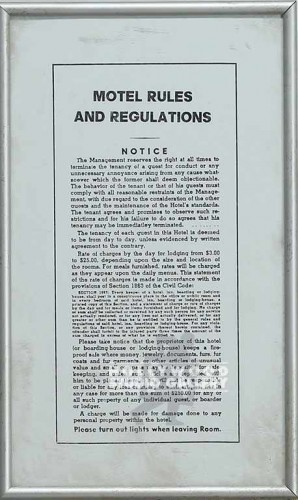 8X13 MOTEL RULES SILVER FRAME