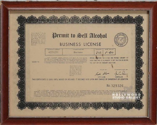 10X12PERMIT TO SELL ALCOHOL CERTIF.