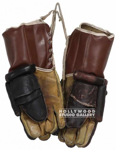 "14"" Pair Vintage Brn Hockey Gloves"