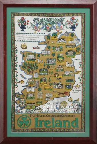 33X22 IRELAND MAP/ BROWN WOOD FRAME