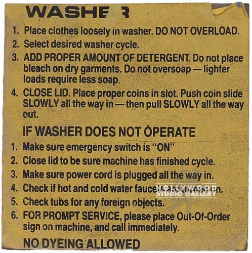 8x8 WASHER-INSTRUCTIONS UNFRAMED