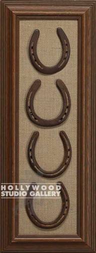 27X10 BRWN FRM/4 FRAMED HORSESHOES