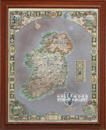 38x31 Map Of Ireland Brwn Frm