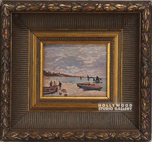 12x13 Gold Frame/Beach/People/Boats
