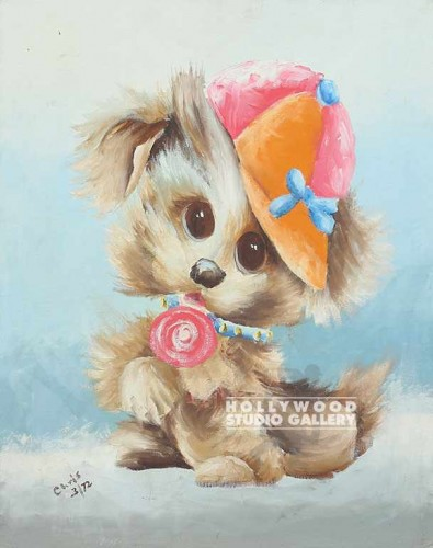 20X16 DOGGIE W/LOLLIPOP/CANVAS UNFR
