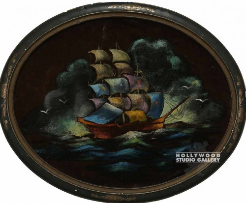 26x32 Oval/Velvet Sailing Ship