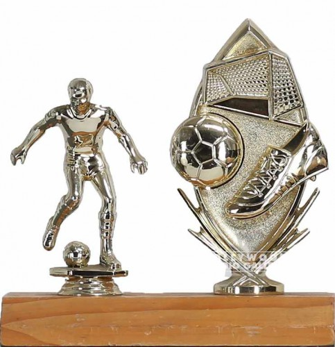 "7"" SOCCER TROPHY / BALL/SHOE/GOAL"